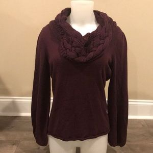 Tahari Cowl Neck Sweater Size Medium Deep Purple